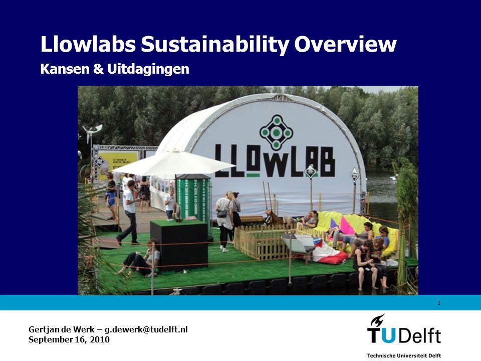Vermelding onderdeel organisatie 1 Llowlabs Sustainability Overview Kansen & Uitdagingen Gertjan de Werk – g.dewerk@tudelft.nl September 16, 2010