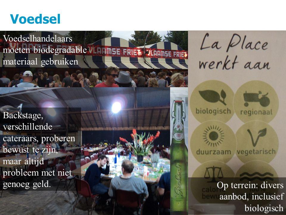 Voedsel 10 Op terrein: divers aanbod, inclusief biologisch Voedselhandelaars moeten biodegradable materiaal gebruiken Backstage, verschillende cateraars, proberen bewust te zijn, maar altijd probleem met niet genoeg geld.