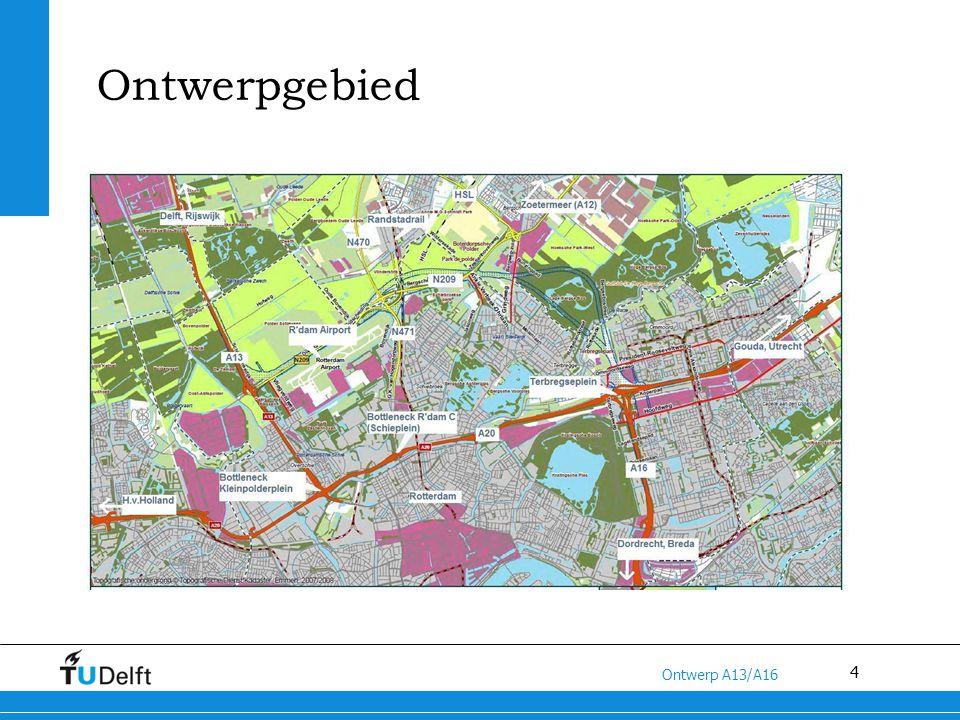 5 Titel van de presentatie Ontwerp A13/A16 Huidige situatie Diverse wegvakken van de A13 en de A20 kennen een hoge filezwaarte en nemen hoge posities in de file top 50; Slechte bereikbaarheid van Rotterdam Noord en Centrum door problemen op Kleinpolderplein en afrit Centrum; Hoge verkeersdruk op het regionale wegennet in het noordelijke deel van de Rotterdamse regio; Slechte verkeersafwikkeling traject Klp.plein-Terbregseplein; Ca.