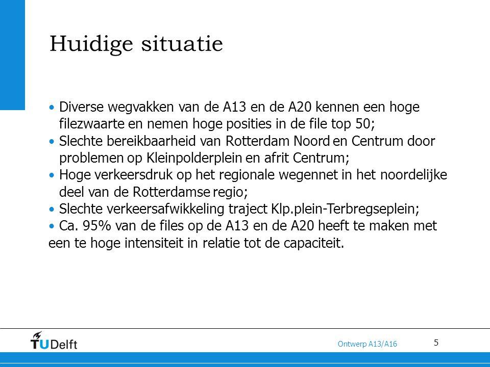 5 Titel van de presentatie Ontwerp A13/A16 Huidige situatie Diverse wegvakken van de A13 en de A20 kennen een hoge filezwaarte en nemen hoge posities