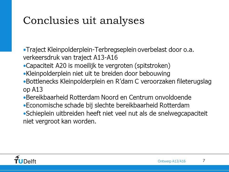 8 Titel van de presentatie Ontwerp A13/A16 Oplossing Voordelen: Scheiding doorgaand verkeer (A13- A16) van lokaal verkeer (A20) Aanzienlijke vermindering van het vrachtverkeer op het benoemde traject, hetgeen gunstig is voor de wegcapaciteit op de A20 Betere bereikbaarheid Rotterdam Noord en Centrum door afname verkeersdruk Verbeterde luchtkwaliteit rond A20 Nadelen: Grote verkeersdruk op Terbregseplein en A16 hetgeen bij fluctuaties tot problemen kan leiden (evt.