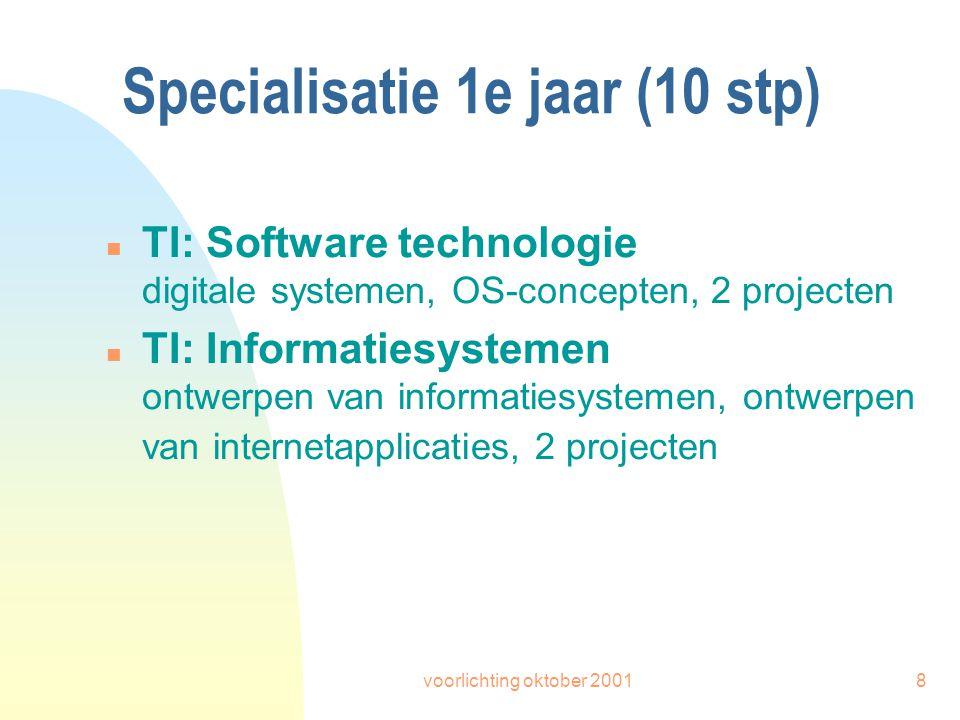 voorlichting oktober 20018 Specialisatie 1e jaar (10 stp) n TI: Software technologie digitale systemen, OS-concepten, 2 projecten n TI: Informatiesystemen ontwerpen van informatiesystemen, ontwerpen van internetapplicaties, 2 projecten
