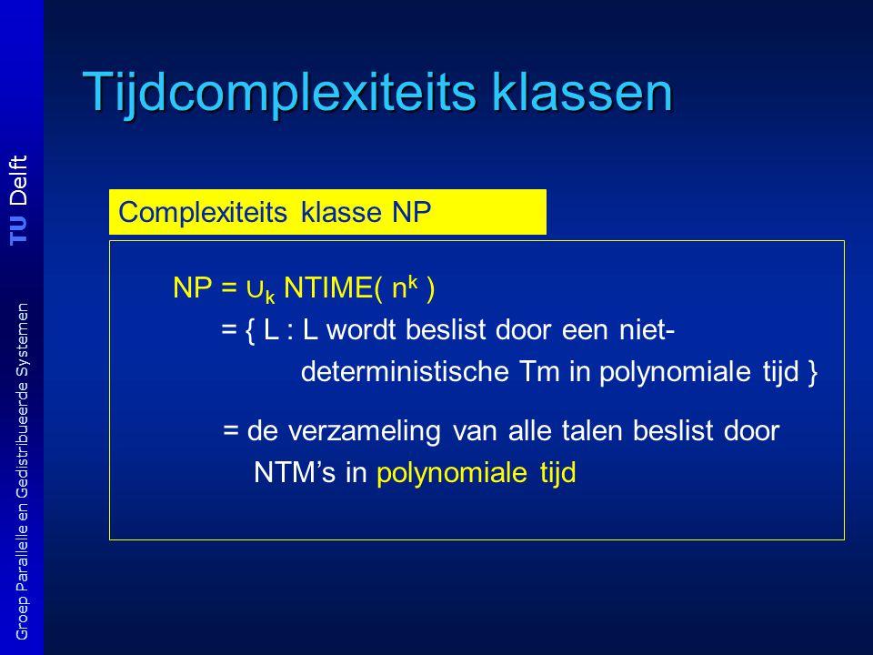 TU Delft Groep Parallelle en Gedistribueerde Systemen Tijdcomplexiteits klassen Complexiteits klasse NP NP = ∪ k NTIME( n k ) = { L : L wordt beslist door een niet- deterministische Tm in polynomiale tijd } = de verzameling van alle talen beslist door NTM's in polynomiale tijd