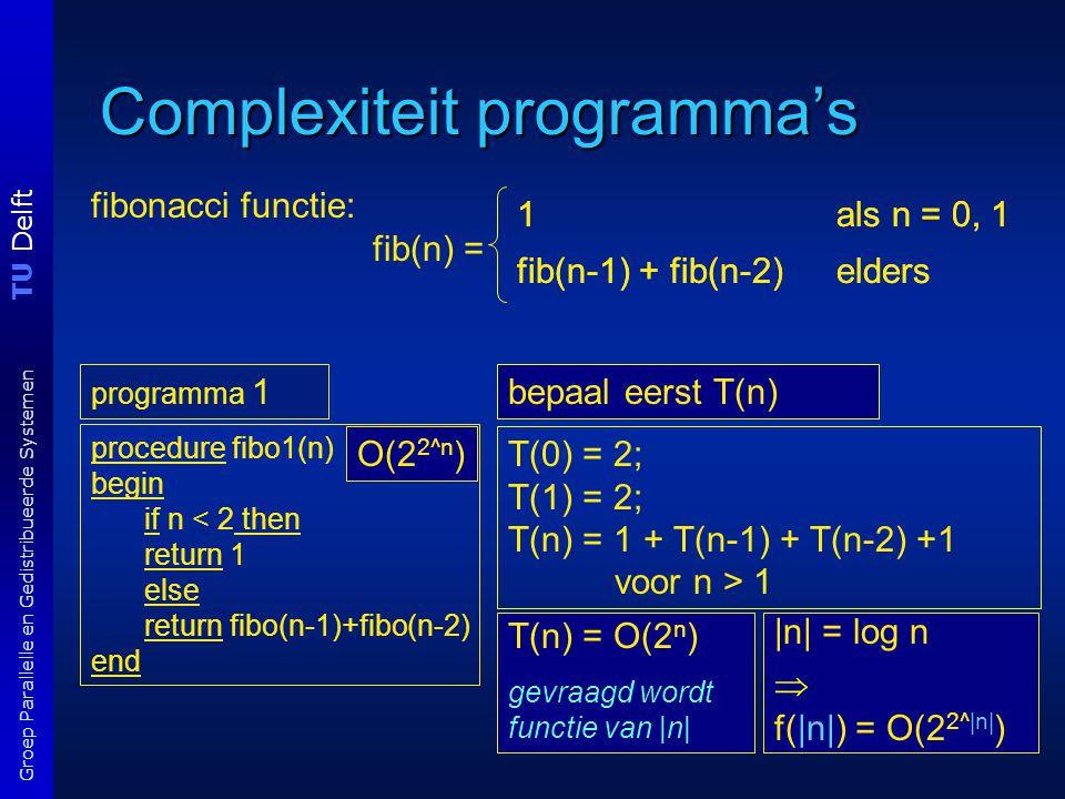 TU Delft Groep Parallelle en Gedistribueerde Systemen Complexiteit programma's T(n) = O(2 n ) dit is tijd als functie van n programma 1 procedure fibo1(n) begin if n < 2 then return 1 else return fibo(n-1)+fibo(n-2) end O(2 2^n )T(0) = 2; T(1) = 2; T(n) = 1 + T(n-1) + T(n-2) +1 voor n > 1 bepaal eerst T(n) |n| = log n  f(|n|) = O(2 2^|n| ) 1 als n = 0, 1 fib(n-1) + fib(n-2) elders 1 als n = 0, 1 fib(n-1) + fib(n-2) elders fibonacci functie: fib(n) = T(n) = O(2 n ) gevraagd wordt functie van |n|