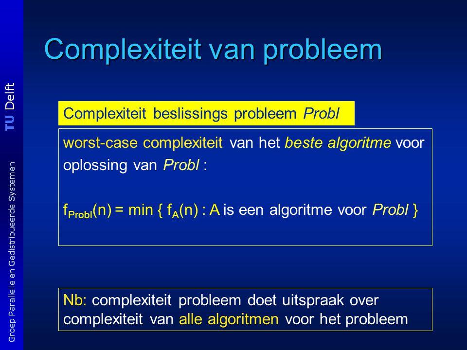 TU Delft Groep Parallelle en Gedistribueerde Systemen Complexiteit van probleem Nb: complexiteit probleem doet uitspraak over complexiteit van alle algoritmen voor het probleem Complexiteit beslissings probleem Probl worst-case complexiteit van het beste algoritme voor oplossing van Probl : f Probl (n) = min { f A (n) : A is een algoritme voor Probl }