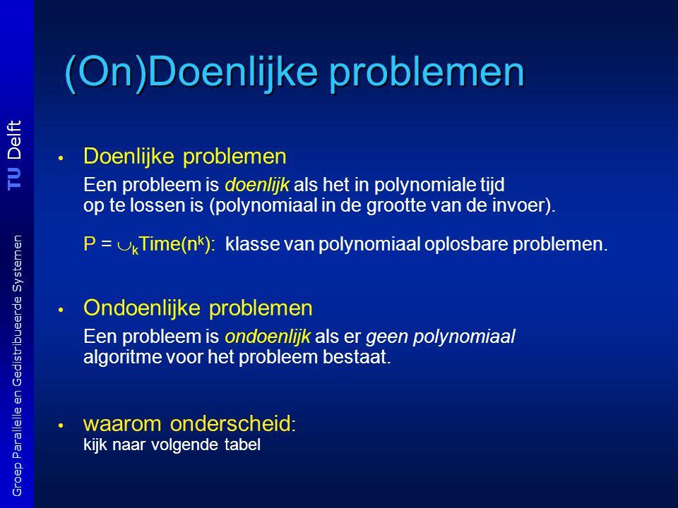 TU Delft Groep Parallelle en Gedistribueerde Systemen (On)Doenlijke problemen Doenlijke problemen Een probleem is doenlijk als het in polynomiale tijd op te lossen is (polynomiaal in de grootte van de invoer).