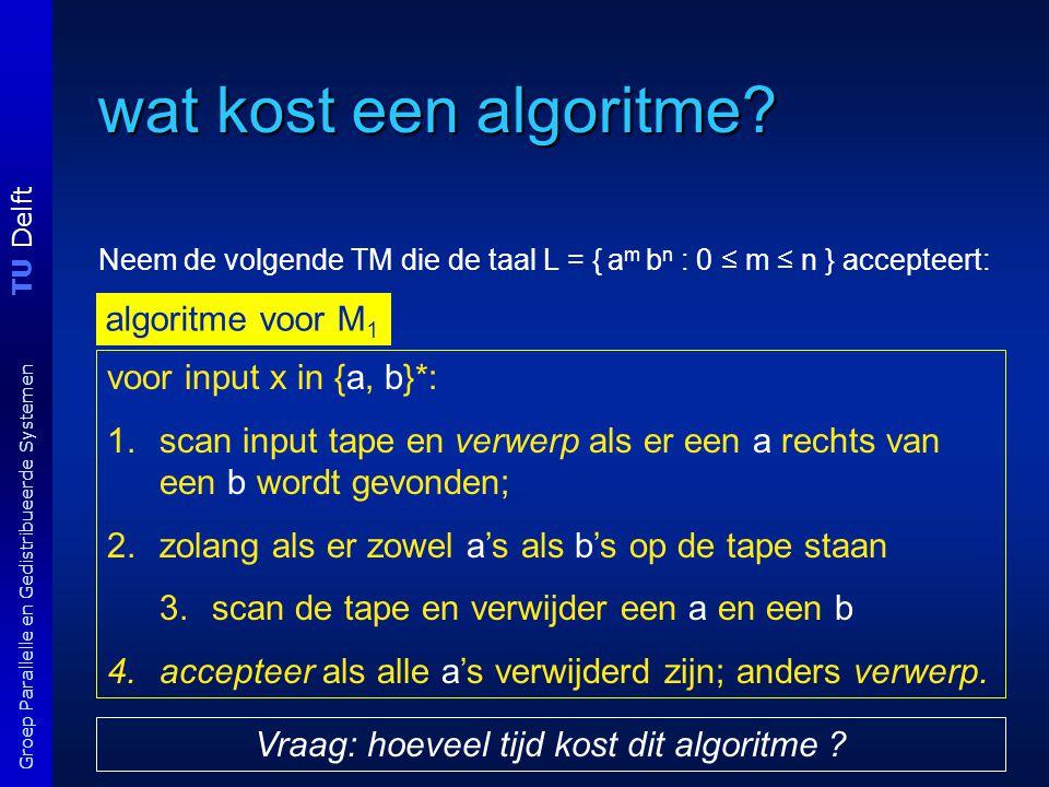 TU Delft Groep Parallelle en Gedistribueerde Systemen Tijd complexiteit van algoritme Exacte bepaling is vaak lastig, onnodig en (te) machine-afhankelijk.