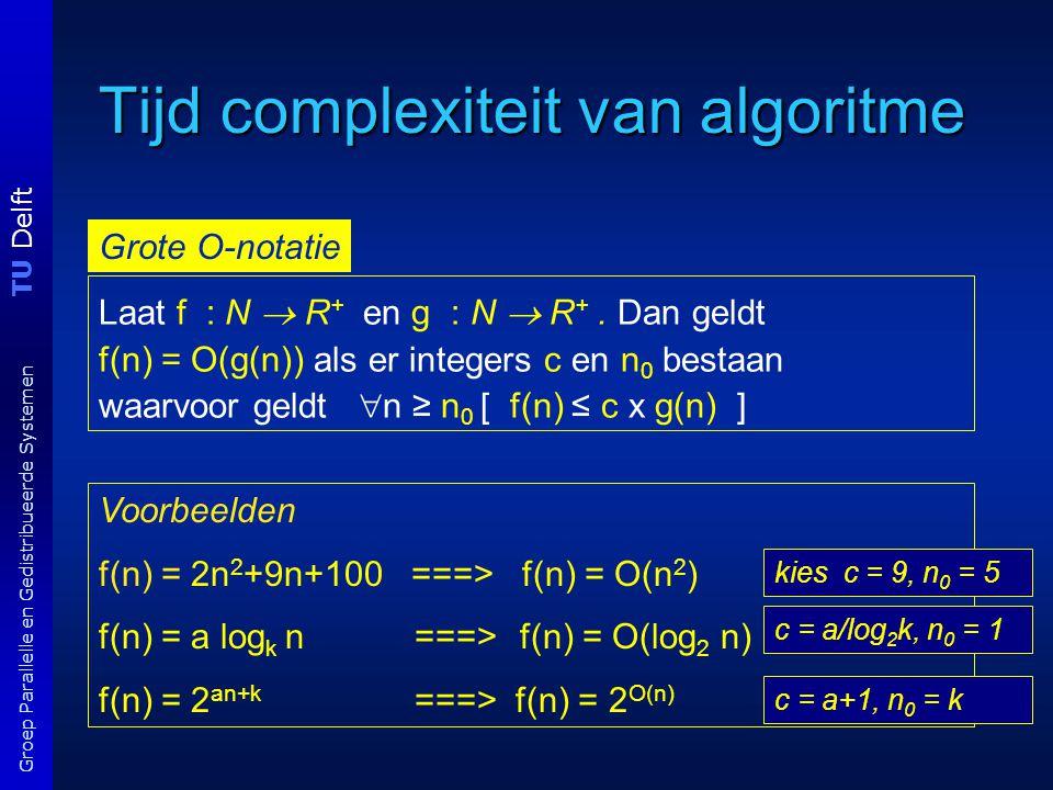 TU Delft Groep Parallelle en Gedistribueerde Systemen Complexiteit programma's T(n) = O(2 n ) dit is tijd als functie van n programma 1 procedure fibo1(n) begin if n < 2 then return 1 else return fibo(n-1)+fibo(n-2) end O(2 2^n )T(0) = 2; T(1) = 2; T(n) = 1 + T(n-1) + T(n-2) +1 voor n > 1 bepaal eerst T(n)  n  = log n  f( n ) = O(2 2^ n  ) 1 als n = 0, 1 fib(n-1) + fib(n-2) elders 1 als n = 0, 1 fib(n-1) + fib(n-2) elders fibonacci functie: fib(n) = T(n) = O(2 n ) gevraagd wordt functie van  n 