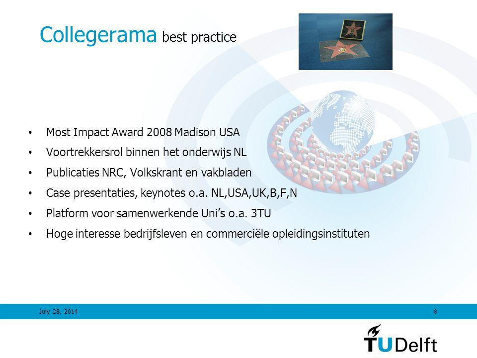 July 28, 20148 Collegerama best practice Most Impact Award 2008 Madison USA Voortrekkersrol binnen het onderwijs NL Publicaties NRC, Volkskrant en vakbladen Case presentaties, keynotes o.a.