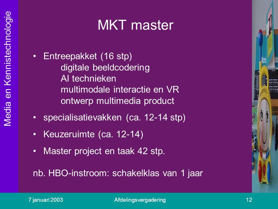 Media en Kennistechnologie 7 januari 2003Afdelingsvergadering12 MKT master Entreepakket (16 stp) digitale beeldcodering AI technieken multimodale inte