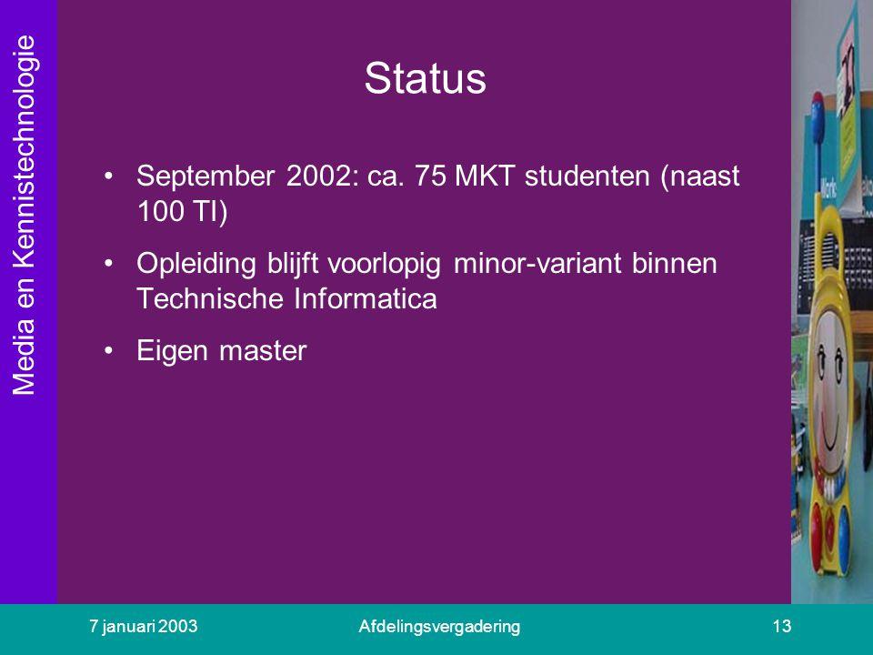 Media en Kennistechnologie 7 januari 2003Afdelingsvergadering13 Status September 2002: ca. 75 MKT studenten (naast 100 TI) Opleiding blijft voorlopig