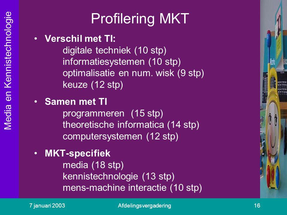 Media en Kennistechnologie 7 januari 2003Afdelingsvergadering16 Profilering MKT Verschil met TI: digitale techniek (10 stp) informatiesystemen (10 stp