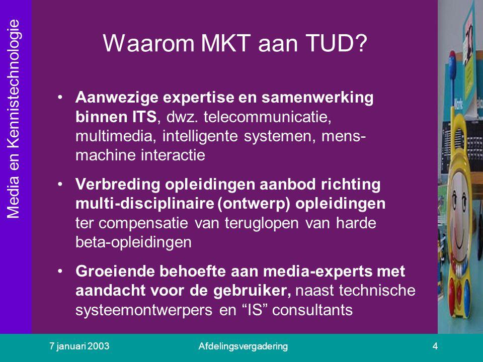 Media en Kennistechnologie 7 januari 2003Afdelingsvergadering4 Waarom MKT aan TUD? Aanwezige expertise en samenwerking binnen ITS, dwz. telecommunicat