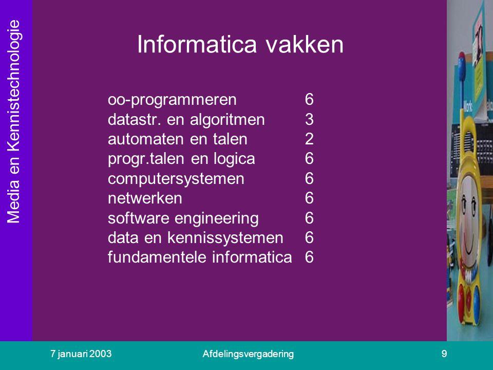 Media en Kennistechnologie 7 januari 2003Afdelingsvergadering9 Informatica vakken oo-programmeren6 datastr. en algoritmen3 automaten en talen2 progr.t