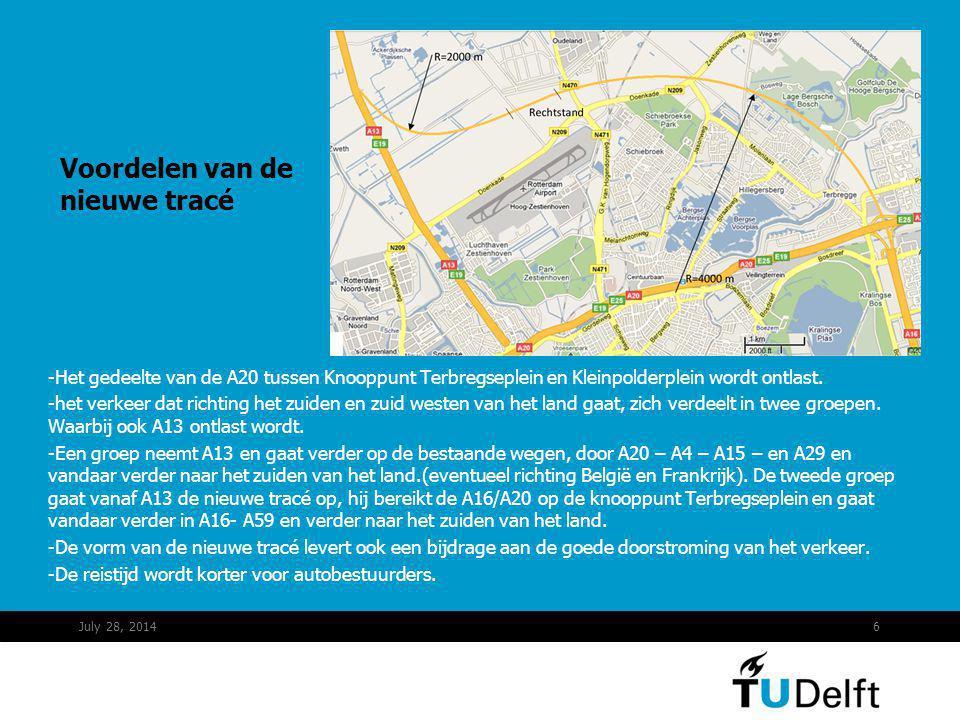 Voordelen van de nieuwe tracé -Het gedeelte van de A20 tussen Knooppunt Terbregseplein en Kleinpolderplein wordt ontlast. -het verkeer dat richting he
