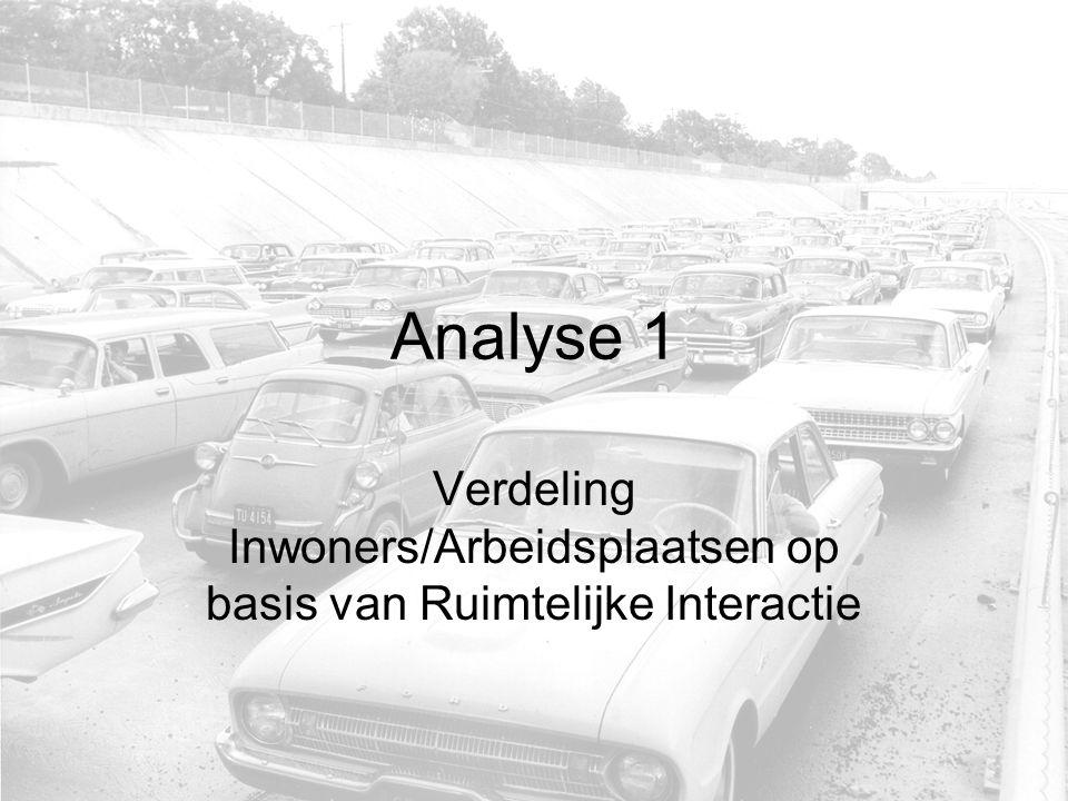 Analyse 1 Verdeling Inwoners/Arbeidsplaatsen op basis van Ruimtelijke Interactie