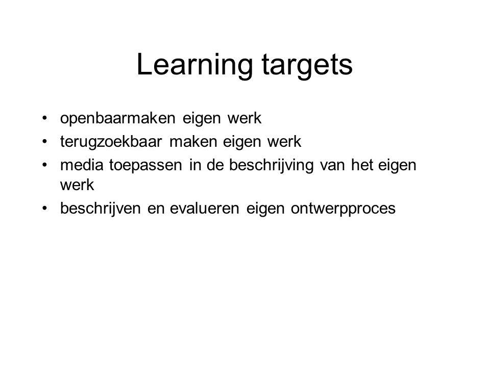 Learning targets openbaarmaken eigen werk terugzoekbaar maken eigen werk media toepassen in de beschrijving van het eigen werk beschrijven en evalueren eigen ontwerpproces