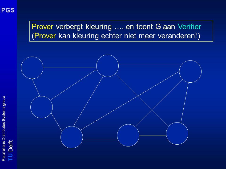 T U Delft Parallel and Distributed Systems group PGS Zero-Knowledge Prover moet Verifier ervan overtuigen dat hij kleuring van G kent zonder kleuring aan Verifier te onthullen.
