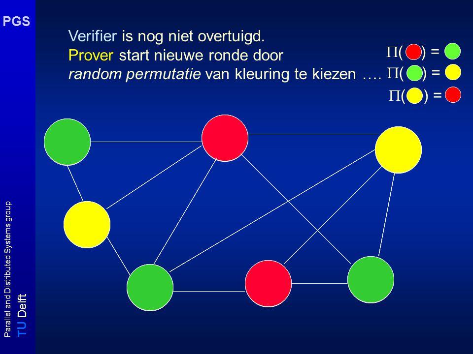 T U Delft Parallel and Distributed Systems group PGS Merk op: Pr [ kleuring is geen 3 kleuring | kleur u  kleur v ]  1 - 1/ |E| Verifier heeft derhalve na 1 ronde kans 1 - 1/ |E| om Prover te ontmaskeren als deze kleuring niet kent.