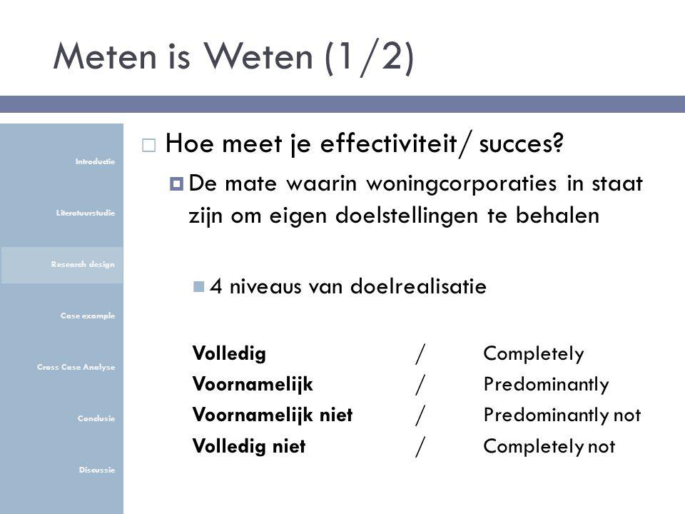 Meten is Weten (1/2)  Hoe meet je effectiviteit/ succes.