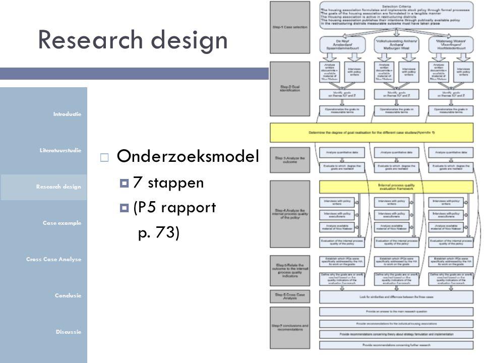 Research design  Onderzoeksmodel  7 stappen  (P5 rapport p. 73) Introductie Literatuurstudie Research design Case example Cross Case Analyse Conclu