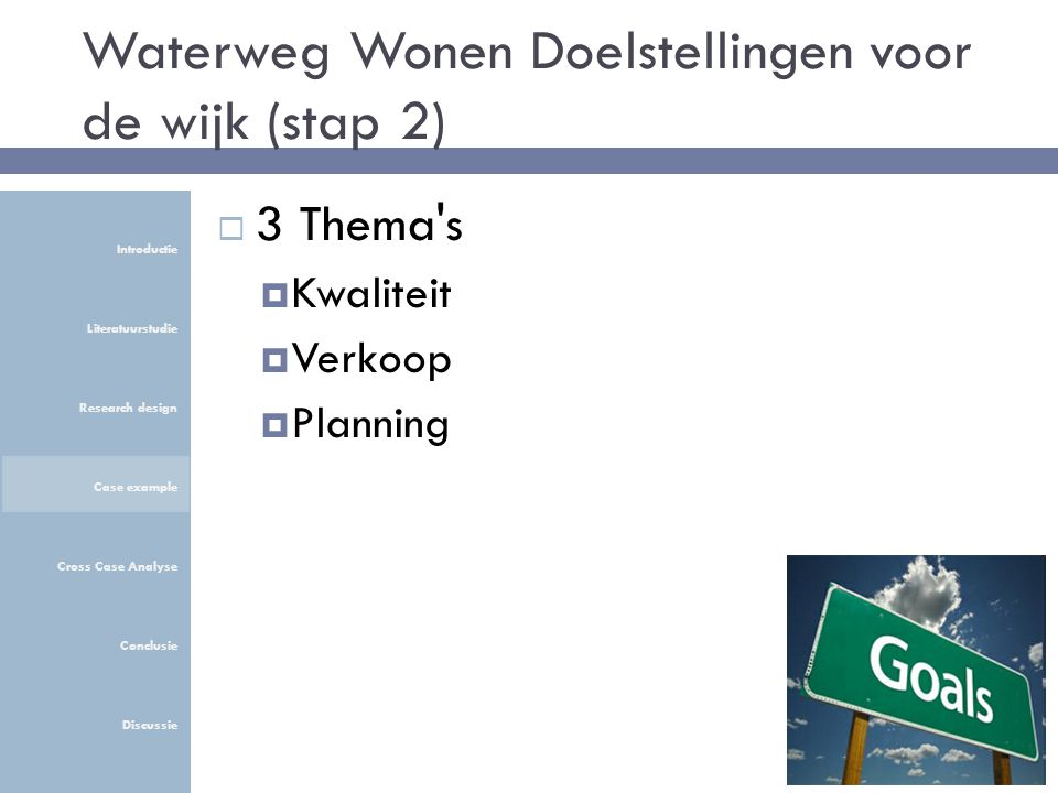 Waterweg Wonen Doelstellingen voor de wijk (stap 2)  3 Thema s  Kwaliteit  Verkoop  Planning Introductie Literatuurstudie Research design Case example Cross Case Analyse Conclusie Discussie