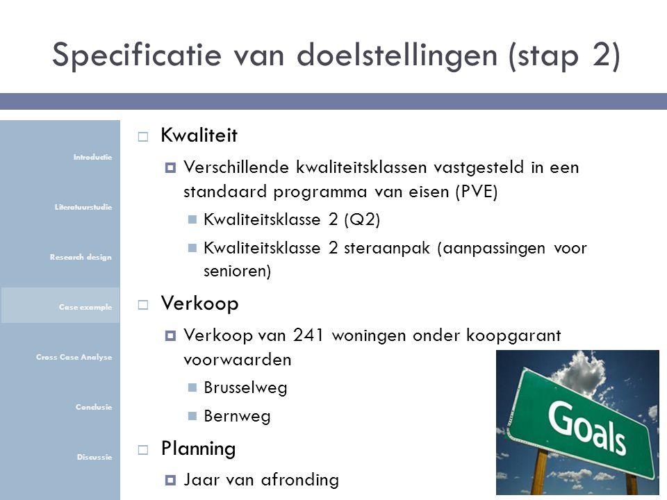 Specificatie van doelstellingen (stap 2)  Kwaliteit  Verschillende kwaliteitsklassen vastgesteld in een standaard programma van eisen (PVE) Kwaliteitsklasse 2 (Q2) Kwaliteitsklasse 2 steraanpak (aanpassingen voor senioren)  Verkoop  Verkoop van 241 woningen onder koopgarant voorwaarden Brusselweg Bernweg  Planning  Jaar van afronding Introductie Literatuurstudie Research design Case example Cross Case Analyse Conclusie Discussie