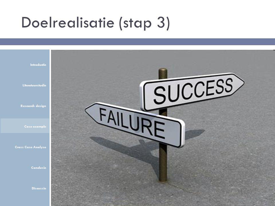 Doelrealisatie (stap 3) Introductie Literatuurstudie Research design Case example Cross Case Analyse Conclusie Discussie