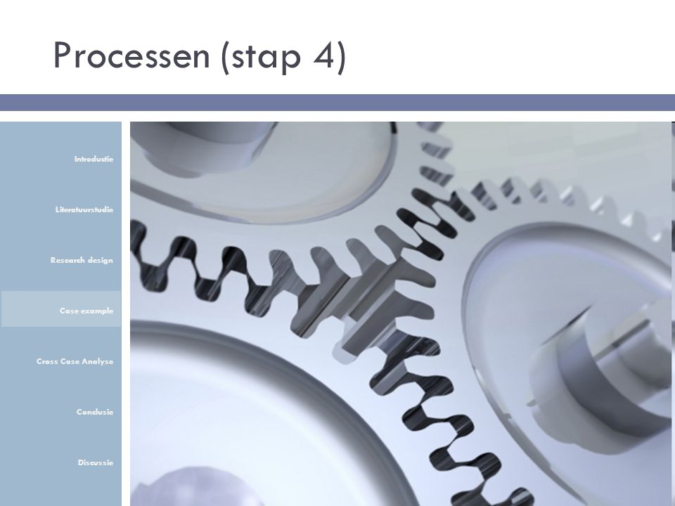 Processen (stap 4) Introductie Literatuurstudie Research design Case example Cross Case Analyse Conclusie Discussie