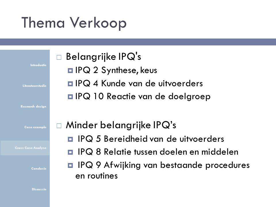 Thema Verkoop  Belangrijke IPQ s  IPQ 2 Synthese, keus  IPQ 4 Kunde van de uitvoerders  IPQ 10 Reactie van de doelgroep  Minder belangrijke IPQ's  IPQ 5 Bereidheid van de uitvoerders  IPQ 8 Relatie tussen doelen en middelen  IPQ 9 Afwijking van bestaande procedures en routines Introductie Literatuurstudie Research design Case example Cross Case Analyse Conclusie Discussie