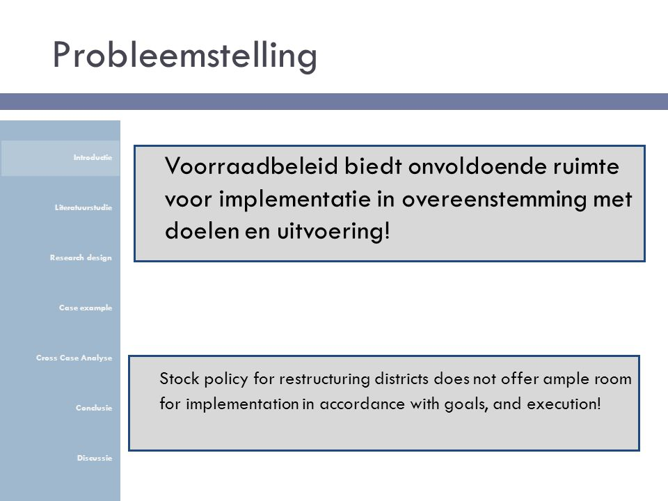 Probleemstelling Stock policy for restructuring districts does not offer ample room for implementation in accordance with goals, and execution! Voorra