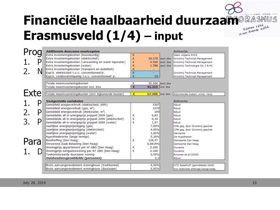 10 Financiële haalbaarheid duurzaam Erasmusveld (1/4) – input Programmatische uitgangspunten 1.Programma 2.Normen Externe uitgangspunten 1.Prognose en