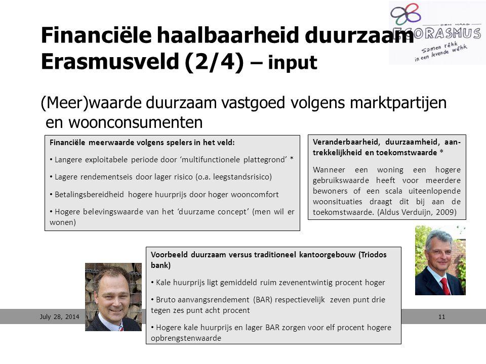 11 Financiële haalbaarheid duurzaam Erasmusveld (2/4) – input (Meer)waarde duurzaam vastgoed volgens marktpartijen en woonconsumenten July 28, 2014 Fi