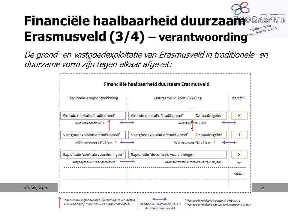 12 Financiële haalbaarheid duurzaam Erasmusveld (3/4) – verantwoording De grond- en vastgoedexploitatie van Erasmusveld in traditionele- en duurzame v