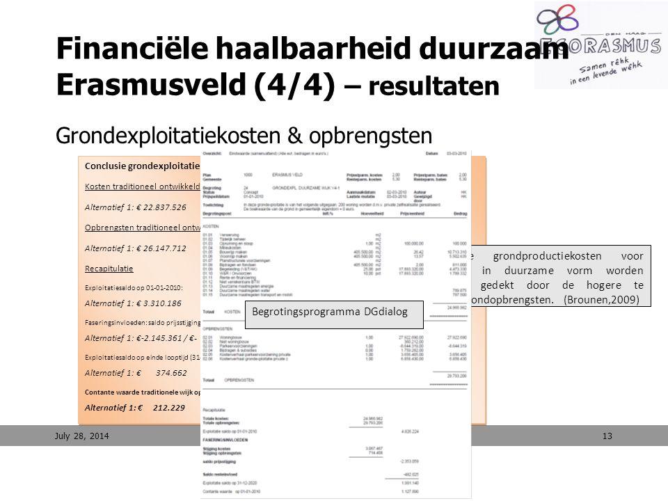13 Financiële haalbaarheid duurzaam Erasmusveld (4/4) – resultaten Grondexploitatiekosten & opbrengsten July 28, 2014 Conclusie grondexploitatie DgDia