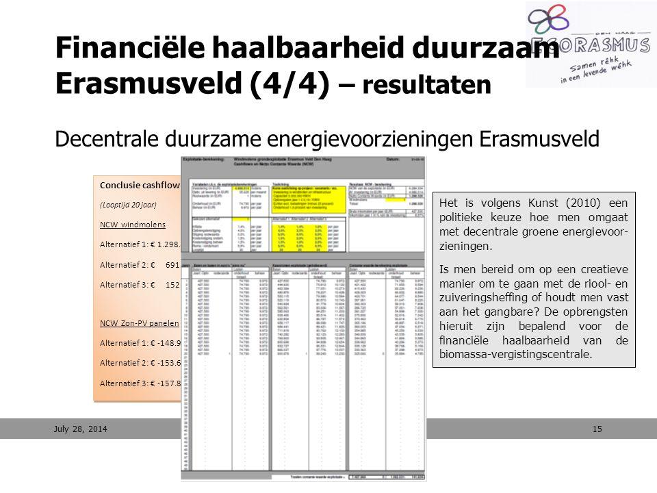 15 Financiële haalbaarheid duurzaam Erasmusveld (4/4) – resultaten Decentrale duurzame energievoorzieningen Erasmusveld July 28, 2014 Conclusie cashfl