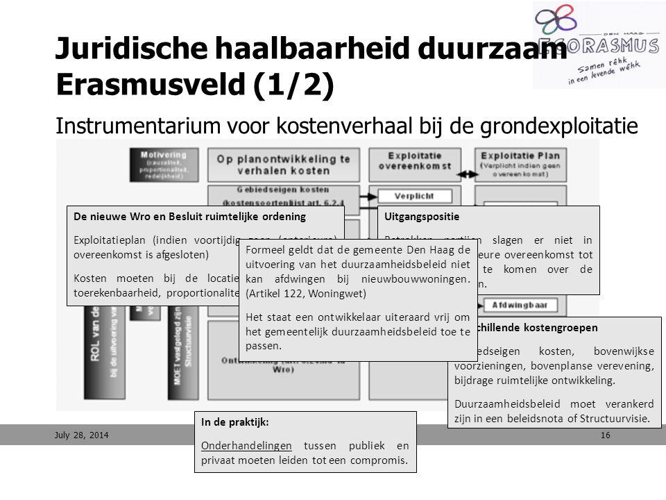 16 Juridische haalbaarheid duurzaam Erasmusveld (1/2) Instrumentarium voor kostenverhaal bij de grondexploitatie Afdwingbaarheid van duurzaamheidsbele