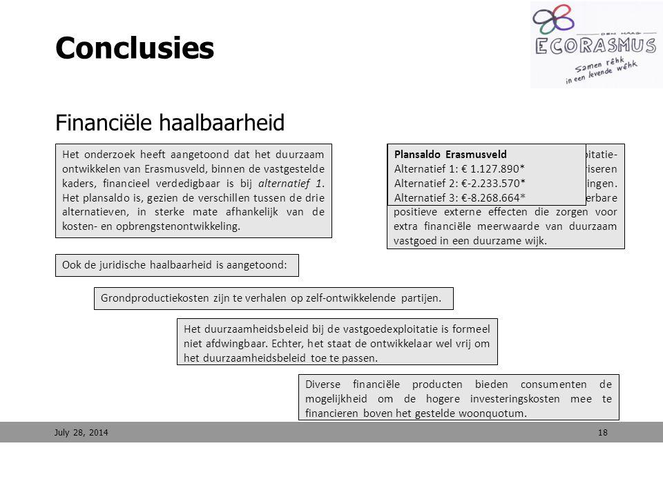 Ook de juridische haalbaarheid is aangetoond: 18 Conclusies Financiële haalbaarheid Juridische haalbaarheid July 28, 2014 Het onderzoek heeft aangetoo