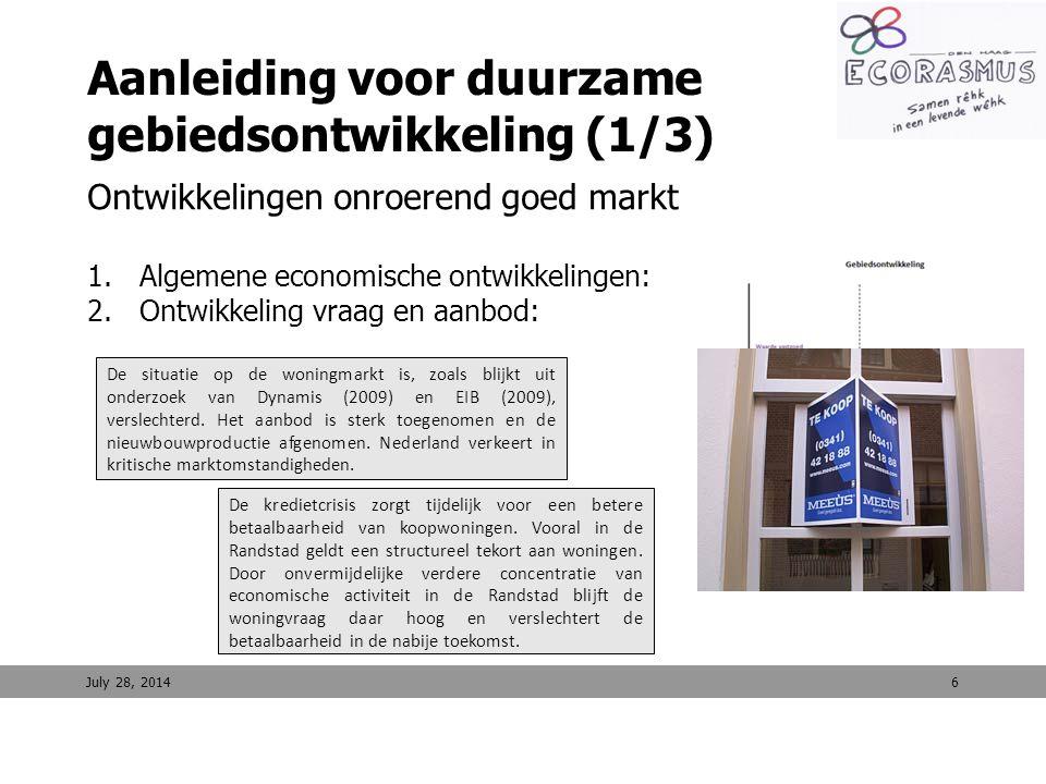 6 Aanleiding voor duurzame gebiedsontwikkeling (1/3) Ontwikkelingen onroerend goed markt 1.Algemene economische ontwikkelingen: 2.Ontwikkeling vraag e