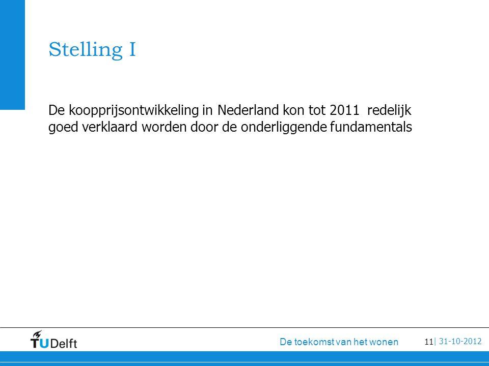 11 De toekomst van het wonen | 31-10-2012 Stelling I De koopprijsontwikkeling in Nederland kon tot 2011 redelijk goed verklaard worden door de onderliggende fundamentals