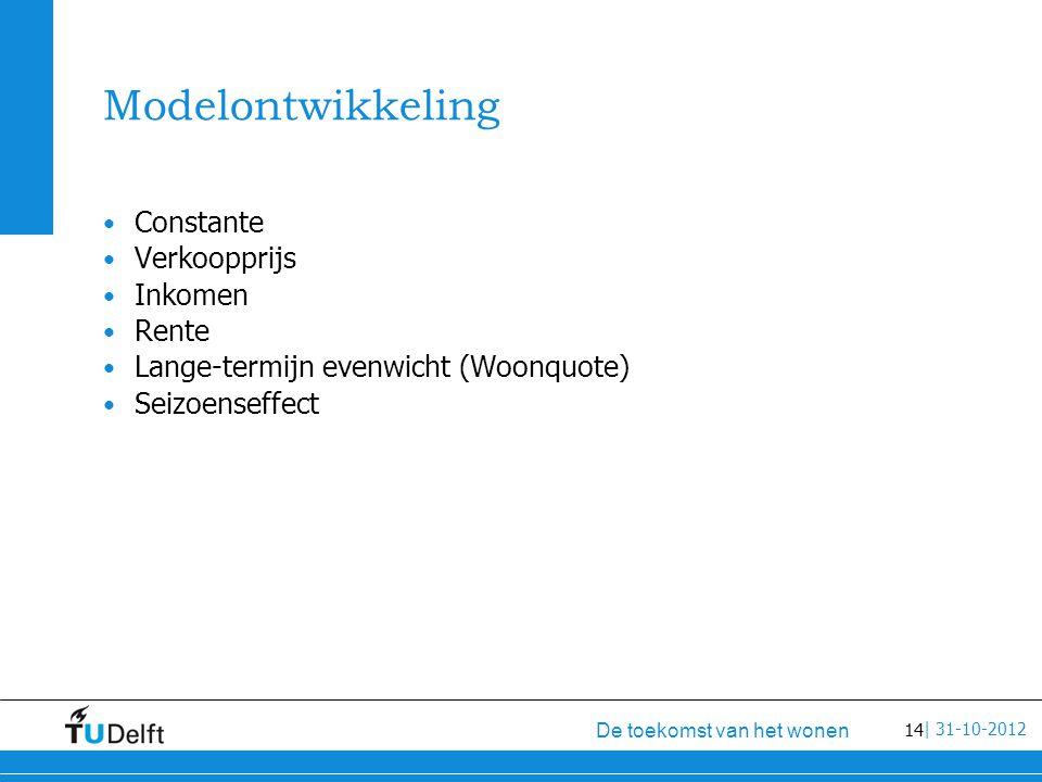 14 De toekomst van het wonen | 31-10-2012 Modelontwikkeling Constante Verkoopprijs Inkomen Rente Lange-termijn evenwicht (Woonquote) Seizoenseffect
