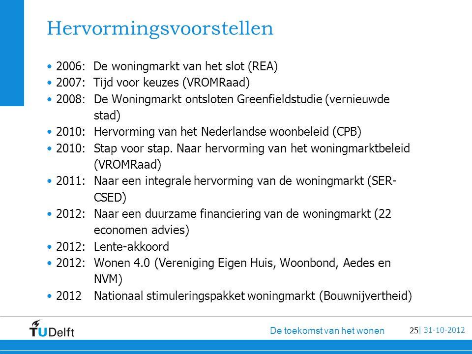 25 De toekomst van het wonen | 31-10-2012 Hervormingsvoorstellen 2006: De woningmarkt van het slot (REA) 2007: Tijd voor keuzes (VROMRaad) 2008:De Woningmarkt ontsloten Greenfieldstudie (vernieuwde stad) 2010: Hervorming van het Nederlandse woonbeleid (CPB) 2010: Stap voor stap.