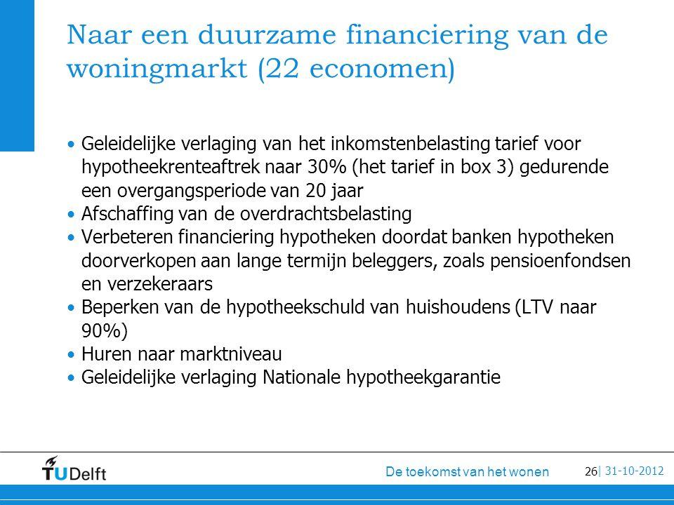 26 De toekomst van het wonen | 31-10-2012 Naar een duurzame financiering van de woningmarkt (22 economen) Geleidelijke verlaging van het inkomstenbelasting tarief voor hypotheekrenteaftrek naar 30% (het tarief in box 3) gedurende een overgangsperiode van 20 jaar Afschaffing van de overdrachtsbelasting Verbeteren financiering hypotheken doordat banken hypotheken doorverkopen aan lange termijn beleggers, zoals pensioenfondsen en verzekeraars Beperken van de hypotheekschuld van huishoudens (LTV naar 90%) Huren naar marktniveau Geleidelijke verlaging Nationale hypotheekgarantie