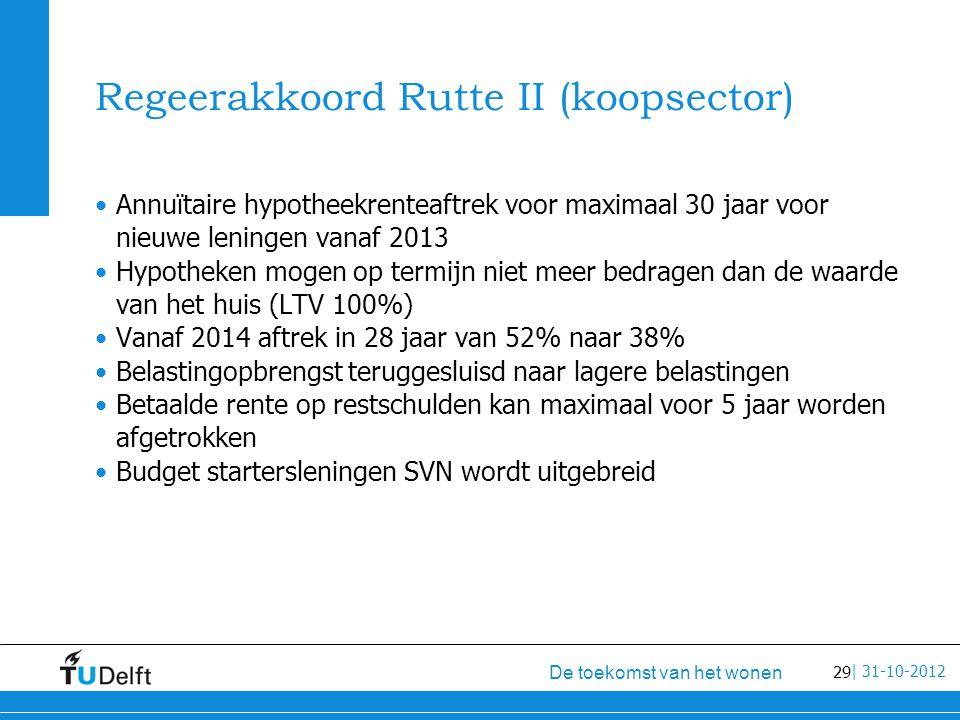 29 De toekomst van het wonen | 31-10-2012 Regeerakkoord Rutte II (koopsector) Annuïtaire hypotheekrenteaftrek voor maximaal 30 jaar voor nieuwe leningen vanaf 2013 Hypotheken mogen op termijn niet meer bedragen dan de waarde van het huis (LTV 100%) Vanaf 2014 aftrek in 28 jaar van 52% naar 38% Belastingopbrengst teruggesluisd naar lagere belastingen Betaalde rente op restschulden kan maximaal voor 5 jaar worden afgetrokken Budget startersleningen SVN wordt uitgebreid