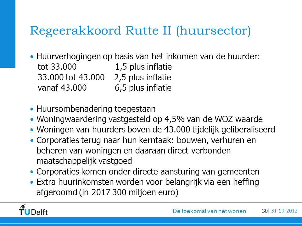 30 De toekomst van het wonen | 31-10-2012 Regeerakkoord Rutte II (huursector) Huurverhogingen op basis van het inkomen van de huurder: tot 33.000 1,5 plus inflatie 33.000 tot 43.000 2,5 plus inflatie vanaf 43.000 6,5 plus inflatie Huursombenadering toegestaan Woningwaardering vastgesteld op 4,5% van de WOZ waarde Woningen van huurders boven de 43.000 tijdelijk geliberaliseerd Corporaties terug naar hun kerntaak: bouwen, verhuren en beheren van woningen en daaraan direct verbonden maatschappelijk vastgoed Corporaties komen onder directe aansturing van gemeenten Extra huurinkomsten worden voor belangrijk via een heffing afgeroomd (in 2017 300 miljoen euro)