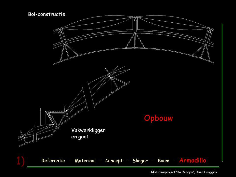 """Afstudeerproject """"De Canopy"""", Daan Bruggink 1) Referentie - Materiaal - Concept - Slinger - Boom - Armadillo Opbouw Vakwerkligger en goot Bol-construc"""