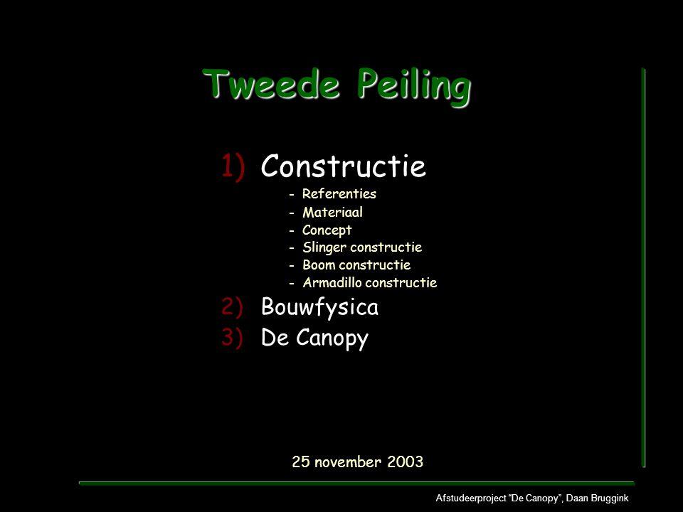 Afstudeerproject De Canopy , Daan Bruggink Tweede Peiling 1)Constructie - Referenties - Materiaal - Concept - Slinger constructie - Boom constructie - Armadillo constructie 2)Bouwfysica 3)De Canopy 25 november 2003
