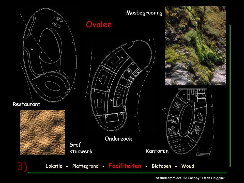 Afstudeerproject De Canopy , Daan Bruggink 3) Mosbegroeiing Ovalen Restaurant Onderzoek Kantoren Grof stucwerk Lokatie - Plattegrond - Faciliteiten - Biotopen - Woud