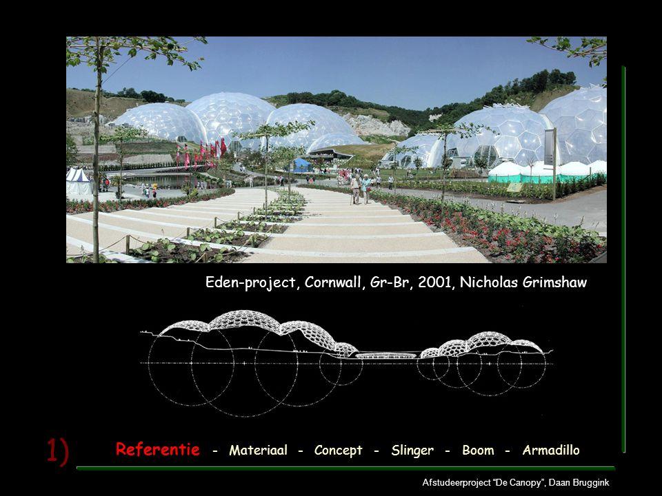 """Afstudeerproject """"De Canopy"""", Daan Bruggink 1) Eden-project, Cornwall, Gr-Br, 2001, Nicholas Grimshaw Referentie - Materiaal - Concept - Slinger - Boo"""