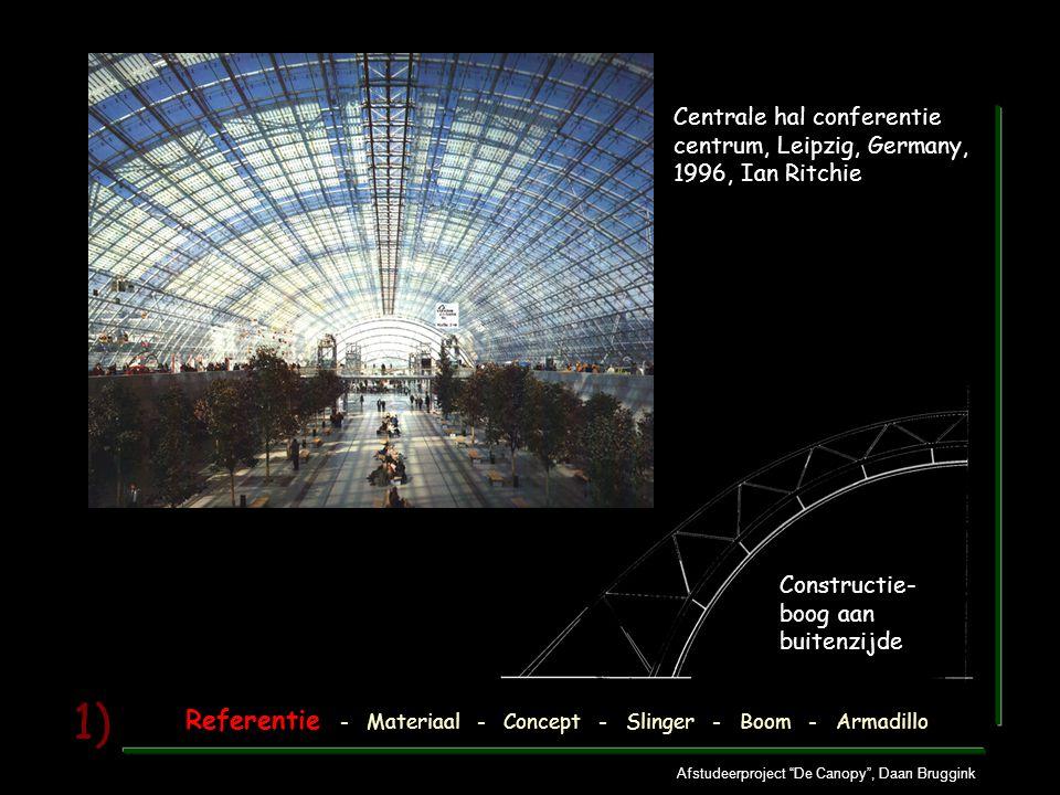 Afstudeerproject De Canopy , Daan Bruggink 1) Centrale hal conferentie centrum, Leipzig, Germany, 1996, Ian Ritchie Constructie- boog aan buitenzijde Referentie - Materiaal - Concept - Slinger - Boom - Armadillo
